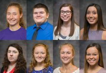 Portraits of eight of the nine 2018-19 KCC Board of Trustees Scholarship recipients.
