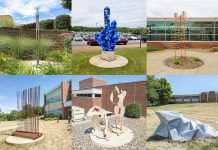 A collage of the 10 new outdoor sculptures installed on KCC's North Avenue campus over the Summer 2018 semester.