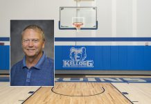 A head shot of men's basketball coach Gary Sprague superimposed on a photo of a basketball hoop in the Miller Gym.