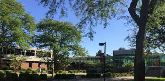 A picture of our North Avenue campus entrance. Facing one of the reflecting ponds.