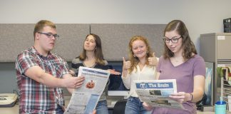 The Bruin News staff leading the charge into a digital future include, pictured from left to right, Staff Writer Seth Allred, Staff Writer Mackenzie Ryder, Managing Editor Taylor Vrooman and Public Editor Sarah Hubbard.