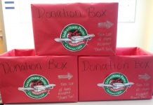 Donation boxes for Operation Christmas Child.