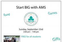 A text graphic promoting an American Muslim Society event for students to be held from 3 to 7 p.m. Sept. 23 in Coldwater.