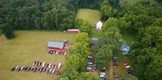 An overhead view of Blair Historical Farm in Homer.