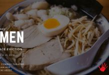 """A text slide including a photo of a dish of food promoting Crawlspace Eviction's improv comedy show """"Ramen,"""" running 8 to 10 p.m. Sept. 21 and 22 in Kalamazoo."""