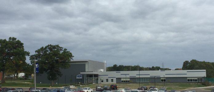 Full shot of the newly built Miller Gym.