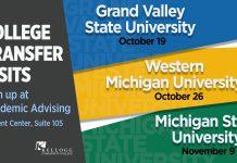A text slide promoting College Transfer Visits to GVSU Oct. 19, WMU Oct. 26 and MSU Nov. 9.