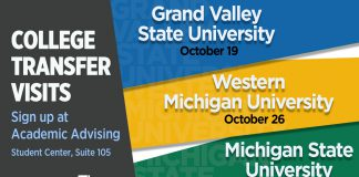 A text slide promoting College Transfer Visits to GVSU Oct. 19, WMU Oct. 26 and MSU Nov. 9.