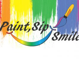 Multimedia image spelling out Paint, Sip, Smile, Multicolored