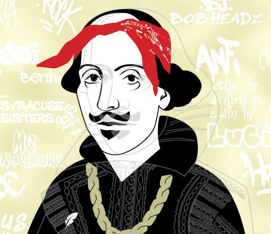 Shakespeare's portrait with hip-hop slang around it.