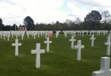 Cemetery grave sites, mostly crosses.