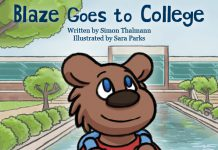 "Detail from the cover of ""Blaze Goes to College,"" a new children's book being published by Kellogg Community College. The book was illustrated by KCC Graphic Design student Sara Parks. Image courtesy of KCC."