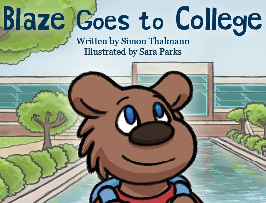 """Detail from the cover of """"Blaze Goes to College,"""" a new children's book being published by Kellogg Community College. The book was illustrated by KCC Graphic Design student Sara Parks. Image courtesy of KCC."""