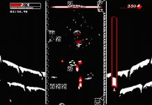 "A screenshot of gameplay from ""Downwell"" for the Nintendo Switch."