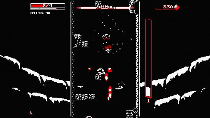 """A screenshot of gameplay from """"Downwell"""" for the Nintendo Switch."""