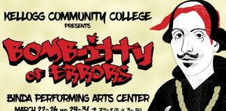 """An text slide featuring an illustration of Shakespeare, promoting KCC's upcoming musical """"The Bomb-itty of Errors."""""""