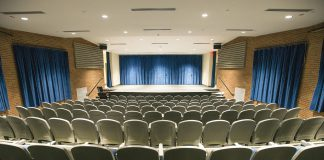 Panoramic view of the auditorium of Kellogg Community College's Davidson Visual and Performing Arts Center.