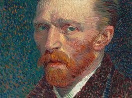 Detail from an 1887 self-portrait by Vincent Van Gogh, on display at the Art Institute of Chicago.
