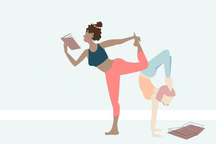 An illustration of women doing yoga while reading.