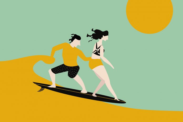 illustration of two people surfing