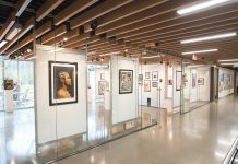 a panoramic view of the art exhibit