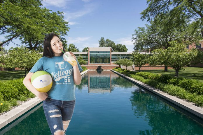 Photo of the North Ave. Campus with a girl holding a drink and a beach ball