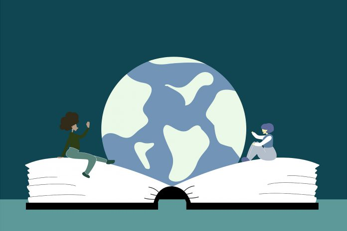 An illustration of two people sitting on an oversized book with the planet Earth between them.
