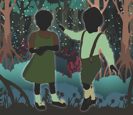An illustration of two kids playing in the woods.