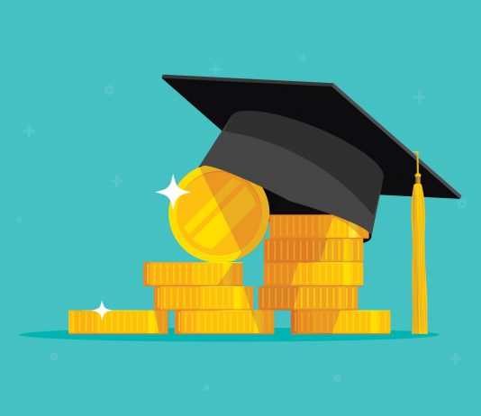 A graduation cap sits slanted on a pile of cartoon gold coins