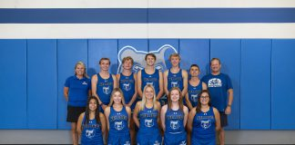 the 2020 KCC Cross Country teams pose for a photo in the gym