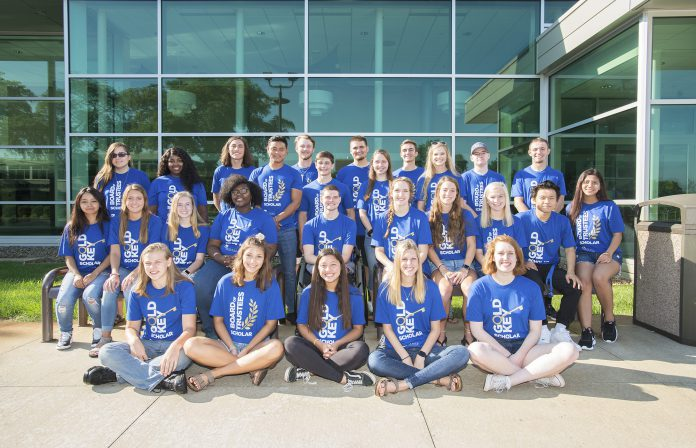 KCC's 2019 Gold Key and Trustee scholar students pose for a group photo on campus in 2019.
