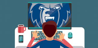 Illustration of a student working on a computer. A Bruin head logo is on the screen.