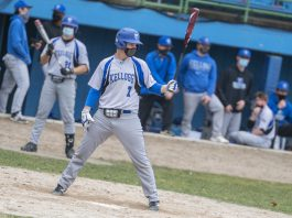 KCC's Jayden Dentler bats against Lake Michigan College during a home game in March.