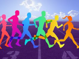 A colorful illustration of runners running on a track.