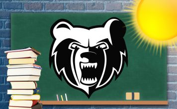 Decorative graphic featuring the Bruin head logo on a chalkboard with a sun and stack of textbooks.