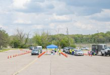 Cars line up during a vaccine clinic on Kellogg Community College's North Avenue campus in Battle Creek on May 20. Photo courtesy of KCC.