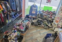 Shoes collected for donation and recycling at the Bruin Bookstore in April. Photo courtesy of Bookstore Clerk Kari Barton.