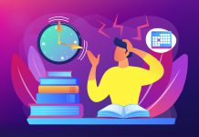 Illustration of a stressed-out person studying and looking at the clock.