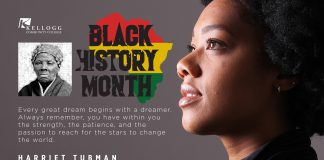 """A slide featuring a profile of a black female and a portrait of Harriet Tubman, with a KCC Black History Month logo and text that reads, """"Every great dream begins with a dreamer. Always remember, you have within you the strength, the patience, and the passion to reach for the stars to change the world. Harriet Tubman. American abolitionist and political activist."""""""