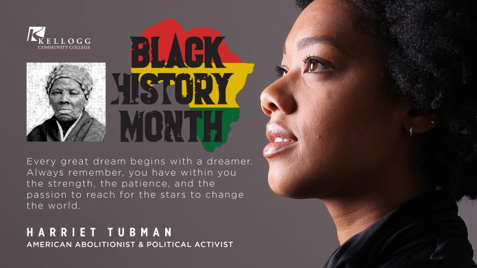 A slide featuring a profile of a black female and a portrait of Harriet Tubman, with a KCC Black History Month logo and text that reads,
