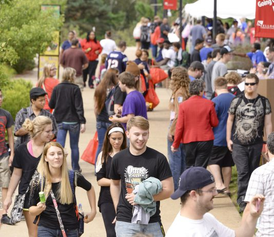 KCC students walk on campus during one of the College's annual Bruin Blast welcome-back events for students in the fall.