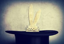 A fake rabbit in a top hat.